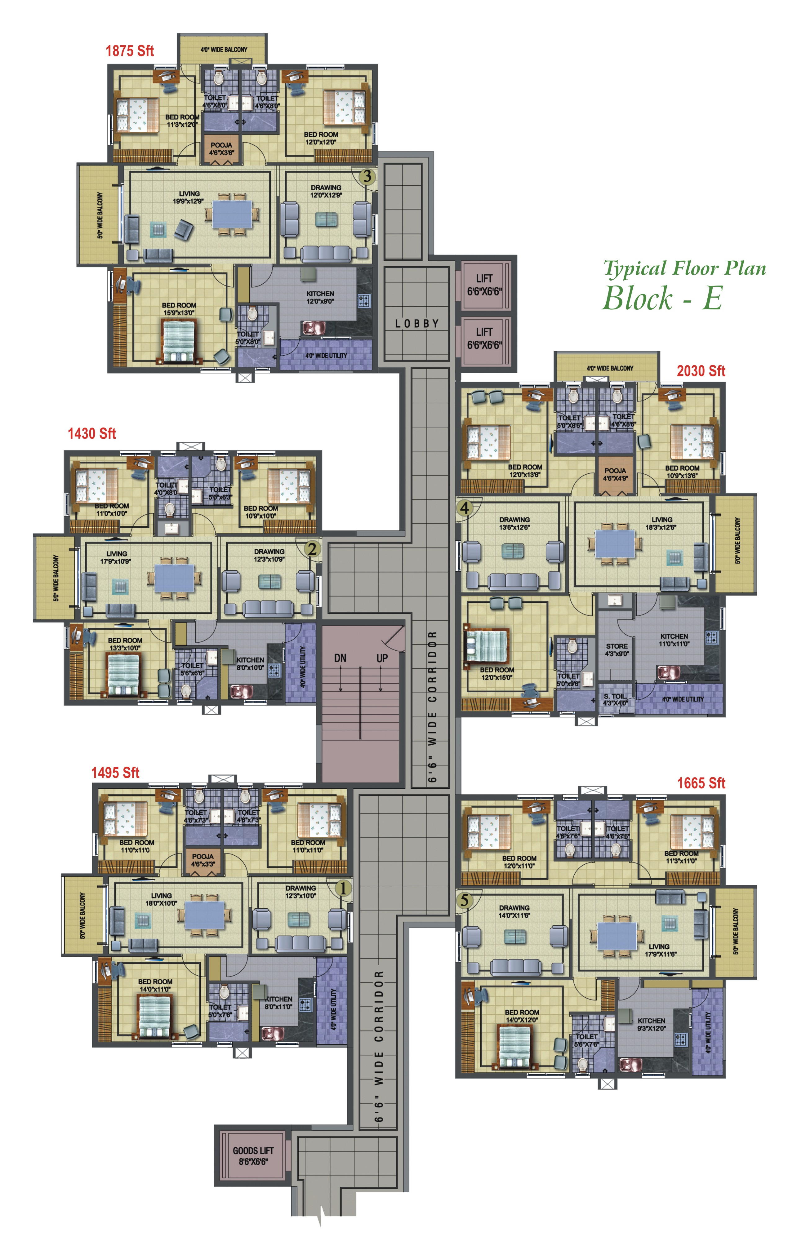 Golf View Typical Floor Plans Block E